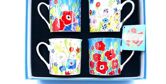 Coffret 4 Mugs Plein Air, Easy Life
