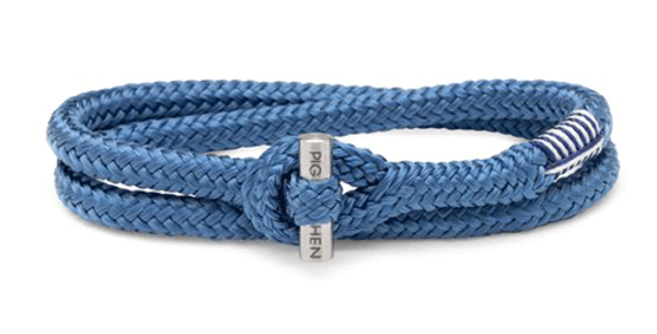 Bracelet Corde Tiny Blue L, Pig & Hen