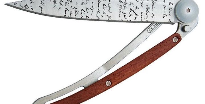 Couteau 37g, Deejo Bois Corail Manuscrit