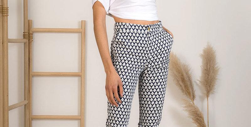 Pantalon Rétro Blanc/Bleu Marine