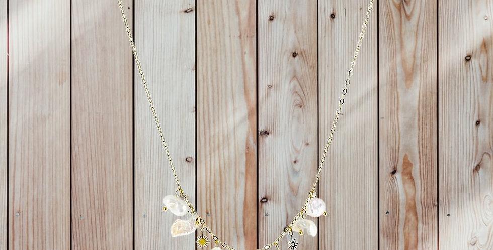 Collier Perles D' eau Douce Doré Acier