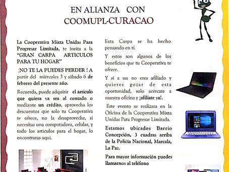 LA GRAN CARPA CON ALIANZA  COOMUPL Y CURACAO DEL 03  AL 06 DE ENERO 2021.