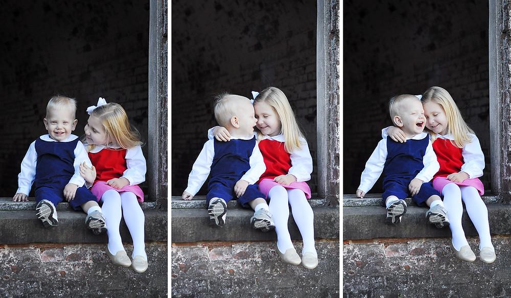 Sibling portraits in Atlantic Beach, NC