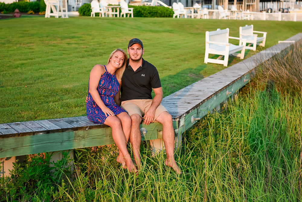 Engaged couple at The Boat House in Beaufort, NC