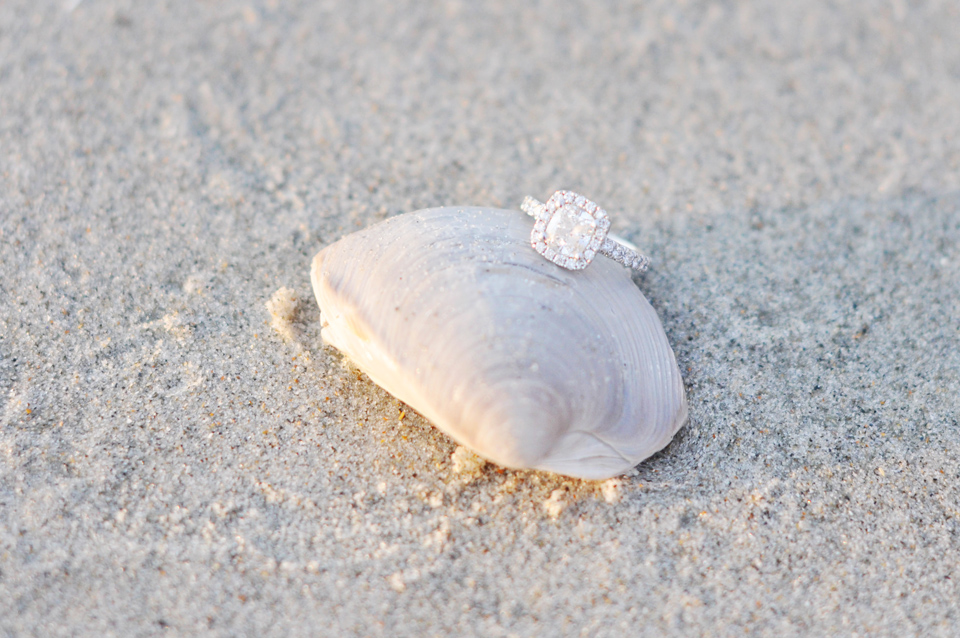 engagement ring on shell