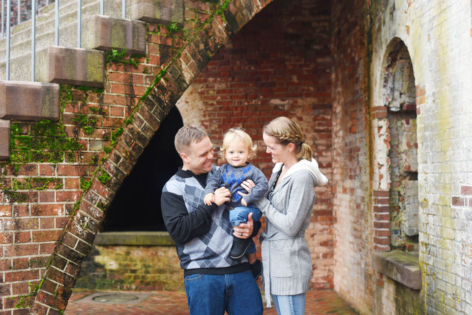 Family portrait at Fort Macon, NC