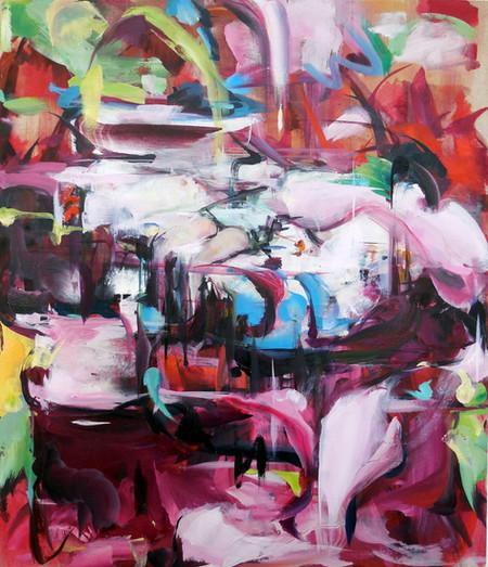 Opera Pink, oil on linen over wood panel, 53x45.5cm, 2018
