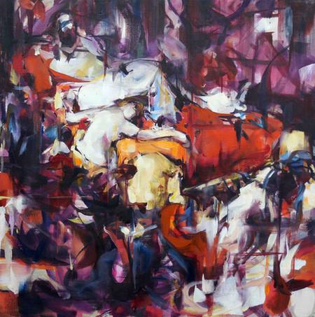 Compulsion, Obsession, Delusion, oil on linen, 50x50cm, 2019