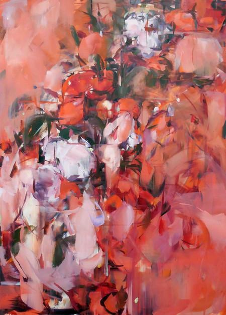 Delacroix, Concubine, RedFlower, oil on linen over wood panel, 100x72cm, 2019