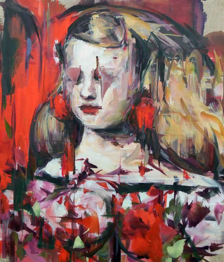 Ruby Tears, oil on linen over wood panel,53x45cm, 2018