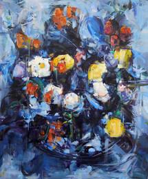 Blue Cézanne, oil on linen, 72x60cm, 2018