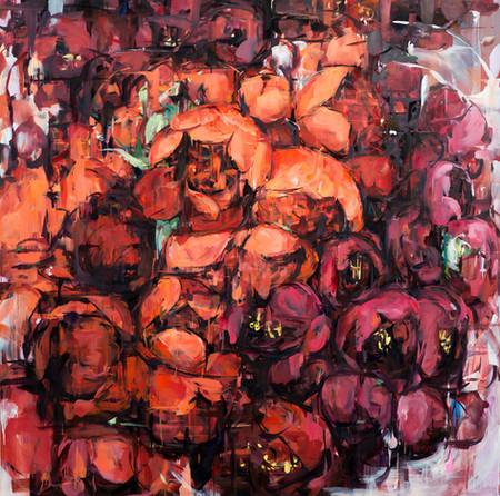 꽃 꿈, oil on canvas, 194x194cm, 2019