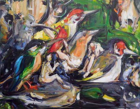 Birds, oil on linen, 30x40cm, 2018