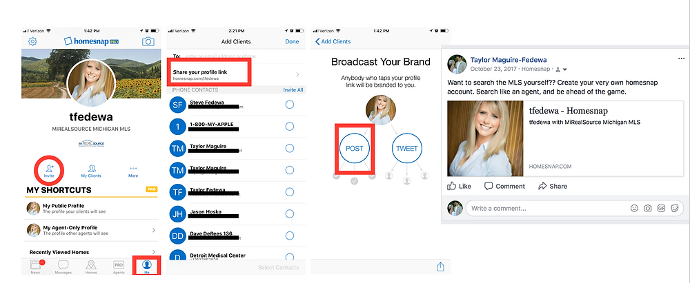 Steps to Sharing on Facebook from Homesnap Pro App