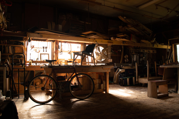 Morning light in the shop.