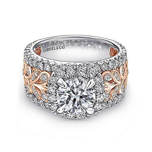 White and Rose gold Halo engagement ring