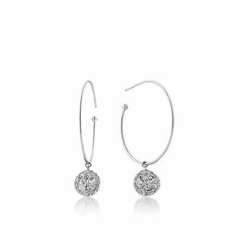 Silver Emblem Hoop Earrings