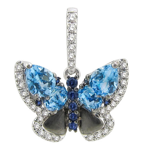 Sapphire and blue topaz butterfly
