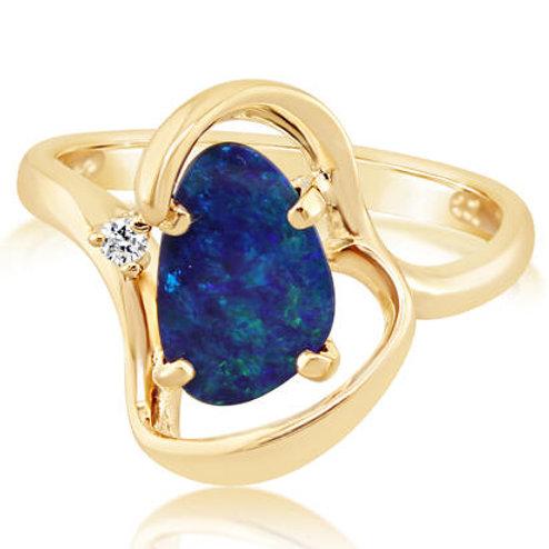 Gold Opal Diamond Ring