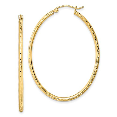 Gold Plated Textured Hollow Hoops