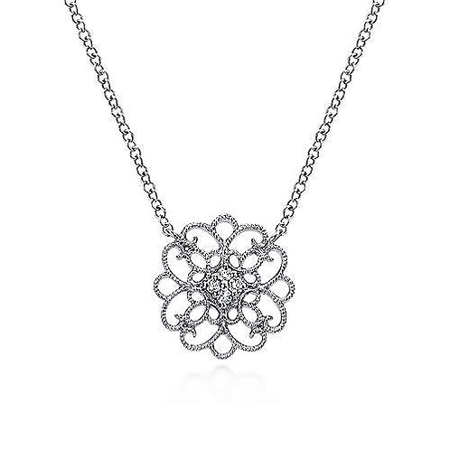Filligree Sterling Silver White Sapphire Necklace