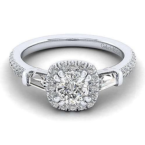 White Gold Cushion cut 3 stone Diamond Ring