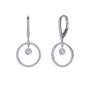Diamond Circle Dangle Earrings