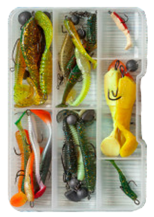 fishing-spinning-hooks-lures-blue-wooden