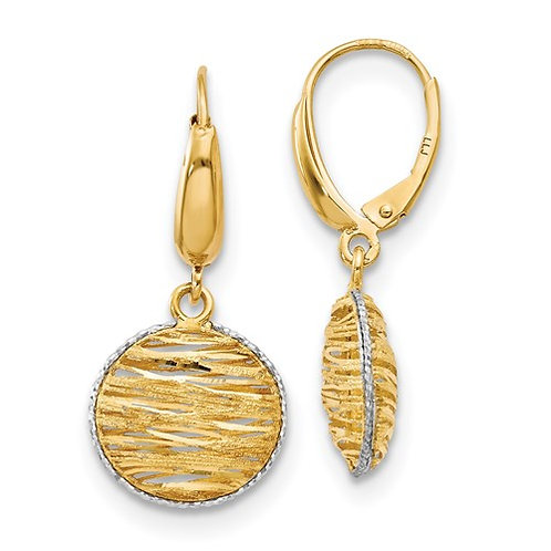 Hollow gold and rhodium earrings