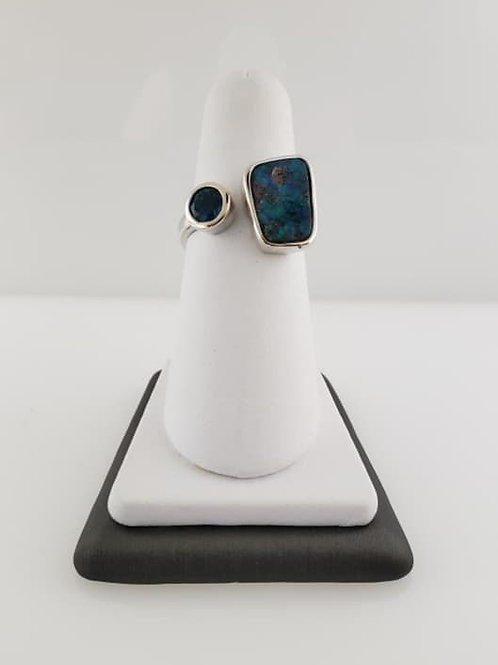 Autralian Opal and Blue Topaz Ring