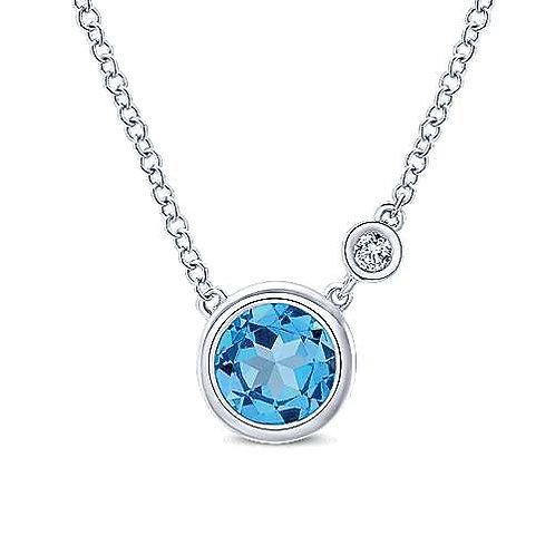 Diamond and Swiss blue topaz necklace