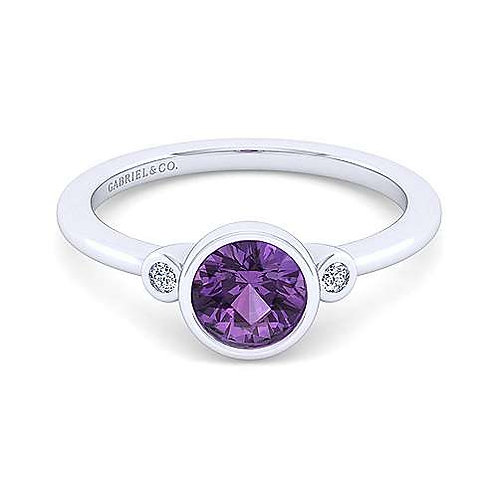 Diamond Amethyst Ring  (sz 8)