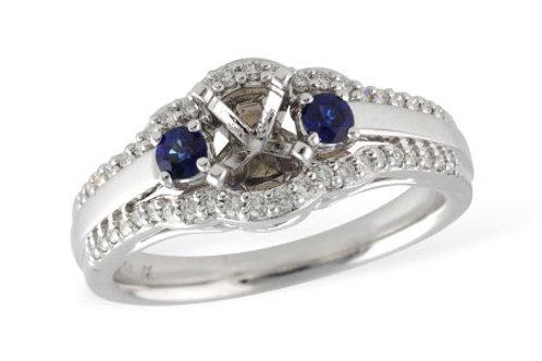Diamond sapphire engagement setting