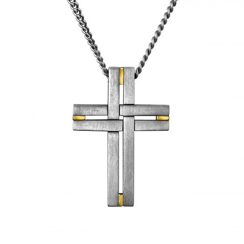 Men's Two Tone Cross Necklacer