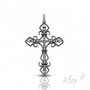 Black and white diamond Cross Pendant