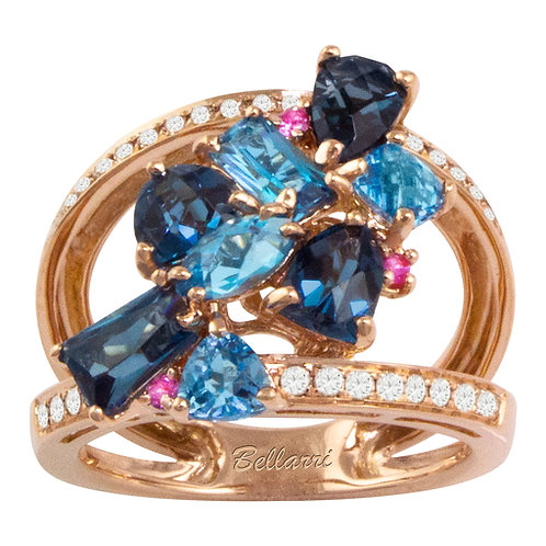 Blue Topaz and Pink Sapphire Ring
