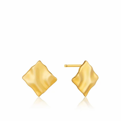 Gold Crush Mini Square earrings
