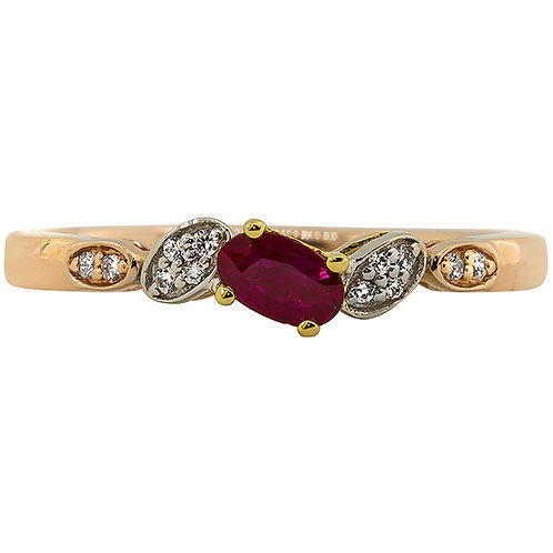 Mixed Gold Ruby and Diamond ring