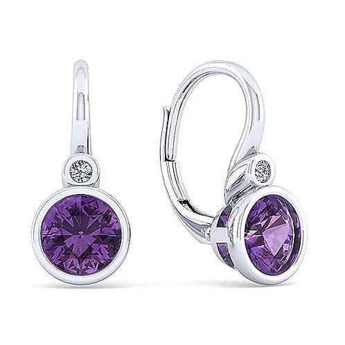 Amethyst lever back earrings
