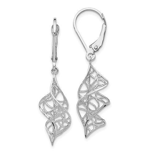 White Gold lever back earrings