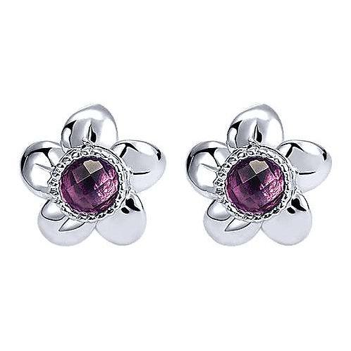 Sterling Silver Amethyst Floral Earrings