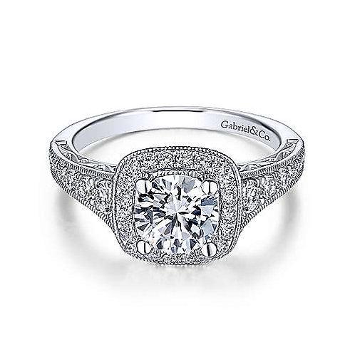 Vintage Inspired Halo Diamond Ring