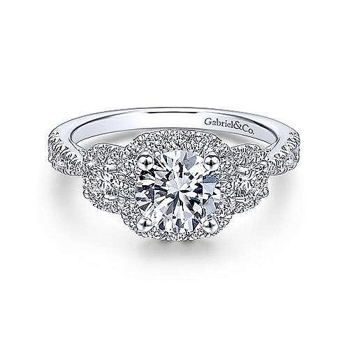 3 Stone Halo diamond ring