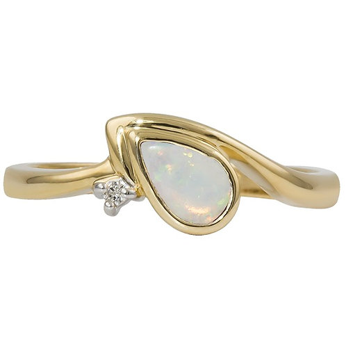 Gold Opal Diamond Ring