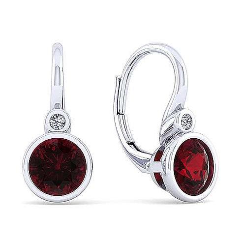 Diamond Garnet Drop Earrings