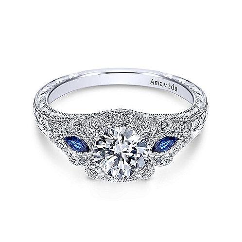 Vintage 18K White Gold Three Stone Halo Round Sapphire & Diamond Engagement