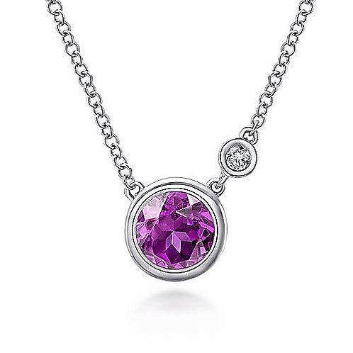 Sterling Silver Birthstone and Diamond necklace