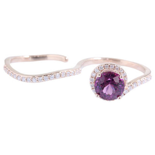 Semi Lotus Garnet Diamond Ring