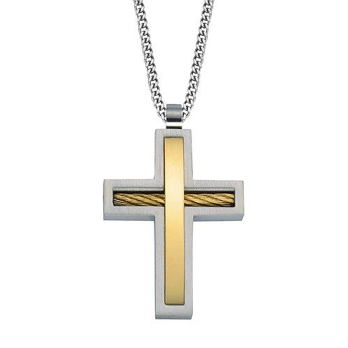 Men's Two Tone Cross Necklace