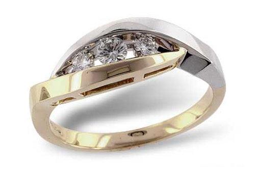 Mixed Metal 3 stone diamond engagement ring